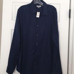 Express Men's Fitted Dress Shirt 1MX XL Navy Blue